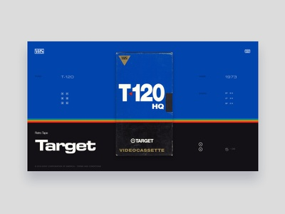 VHS Tribute - Target T-120 HQ lines typography yellow dark grey red tribute vintage colors ui website