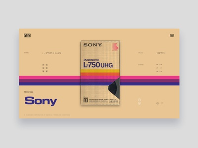 VHS Tribute - Sony L-750 UHG lines typography purple gold pink tribute vintage colors ui website