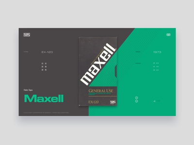 VHS Tribute - Maxell EX-120 website vintage ui typography tribute grid dark grey colors green