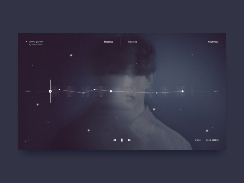 Custom Music Player Experience – Dark Mode wave sound minimalistic james blake music player user interface ui design ui music