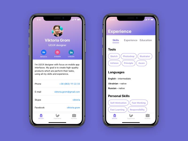 Resume App by Viktoria Grom | Dribbble | Dribbble