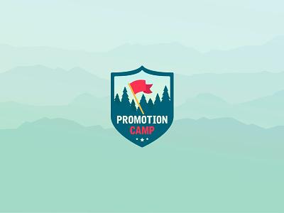 Promotion Camp Logo night day animation camp promotion flat identity branding brand landing page