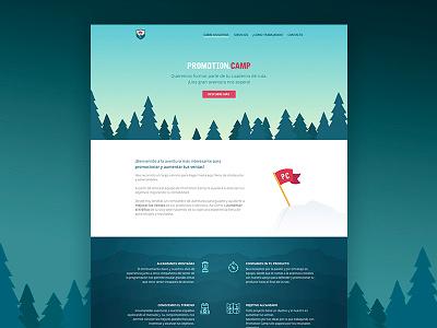 Promotion Camp Web night day animation camp promotion flat identity branding brand landing page