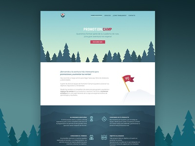 Promotion Camp Web night day animation camp promotion flat identity branding brand landing page