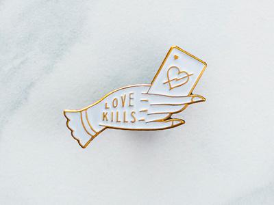 Love Kills Pin blksmith illustration logo hand pin enamel