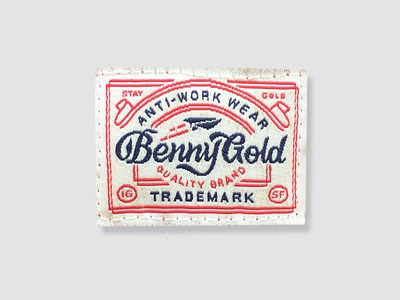 Anti-Work Wear type lock up label badge benny gold