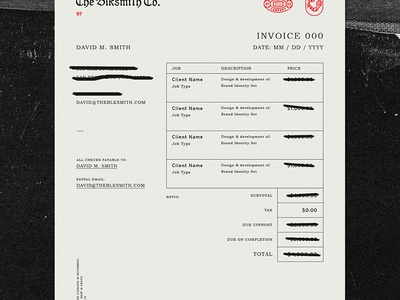 Blk Co. Invoice 2016  invoice blksmith