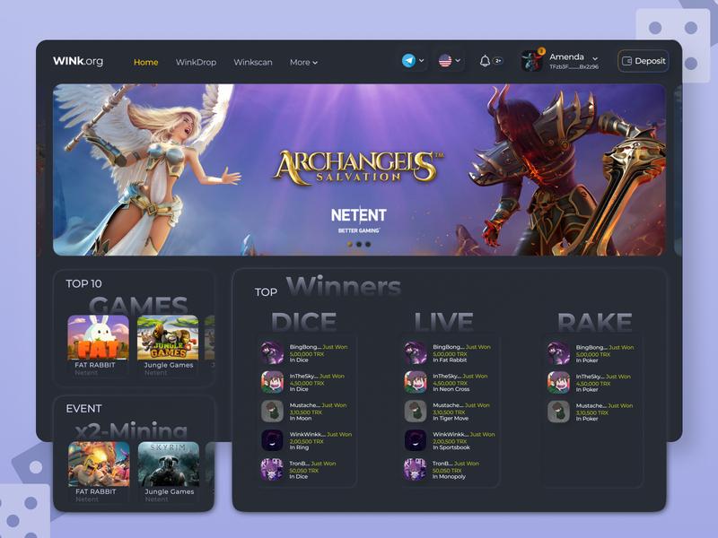WINK 2.0 Concept UI skeuomorphic darkui casino gambling dapp crypto