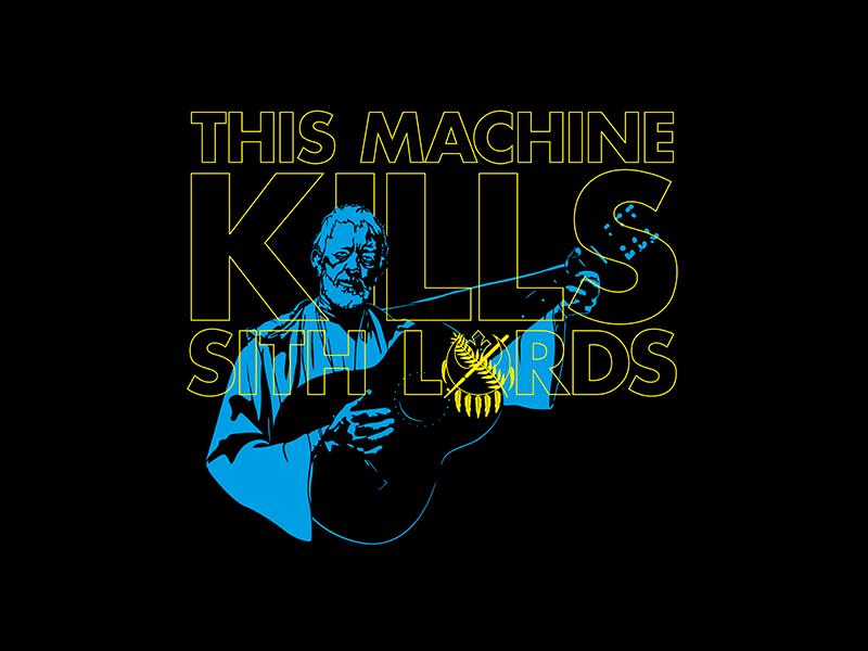 Help Me Okie Kenobi, You're My Only Hope! rebel alliance sith lords this machine kills fascists woody guthrie obiwan kenobi star wars typography guitar oklahoma illustration