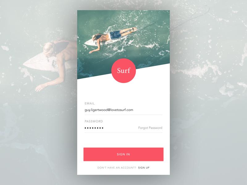 Surf App - Login Concept app concept app design sketch surf login android ios ui