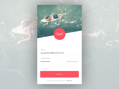 Surf App - Login Concept app concept app design sketch surf login android ios ui
