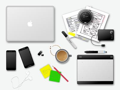 My Desk coffee apple earphones post it notes sharpie wacom iphone 6 nexus 5x macbook pro sketch illustration