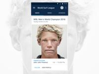 John John Florence world surf league material design android app surfing