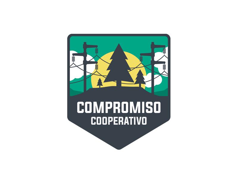 Compromiso Cooperativo mountains clouds sun badge electricity pine trees logo vector