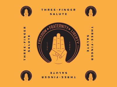 Three Finger Salute vintage graphic design salute finger three design badge typography logotype branding illustration logo