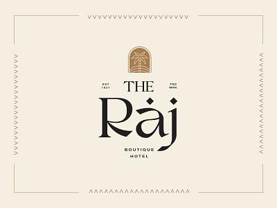 The Raj Hotel palm tree desert classy font type elegant boutique hotel moroccan graphic design lettering typography design badge branding logotype illustration logo