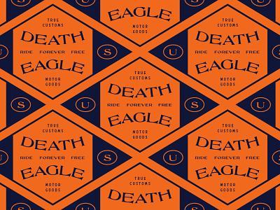 Death Eagle typography rider free badge eagle motocycle industrial retro vintage pattern brand logotype illustration branding logo graphic design design