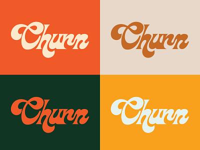 Churn branding typography type 70s retro funky font brand logotype logo graphic design design