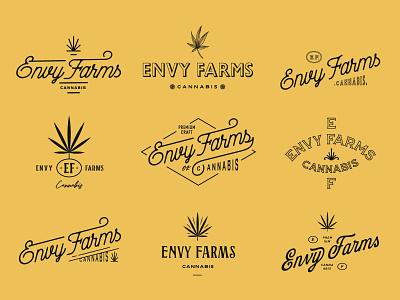 Envy Farms Explorations cannabis retro lettering type vintage badge brand logo illustration typography logotype branding graphic design design
