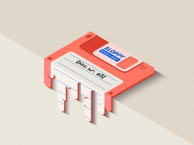 Sloppy Disc flat retro technology vintage graphic design design illustration isometric floppy melting disc sloppy