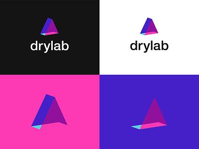 Drylab icon design graphic design branding brand tech negative space font triangle prism logotype logo