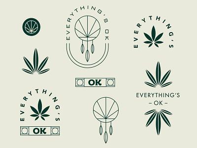 Everything's OK Exploration icon graphic design dreamcatcher leafs plant cannabis illustration logotype badge logo weed oklahoma dispensary branding brand