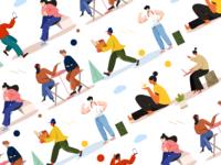 Character exercises flat illustration