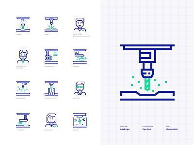 Technical icon set icons minimalistic iconset pixelperfect outline vector icon