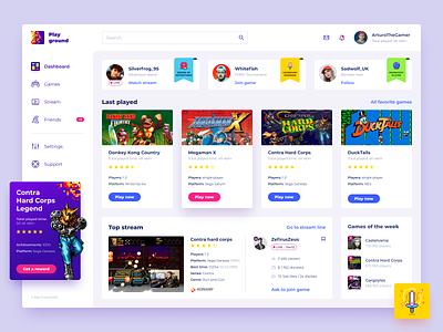 PlayGround: Game and Streaming platform 16bit 8bit retrogames icon icons pixelart dashboard games design ux art illustration ui