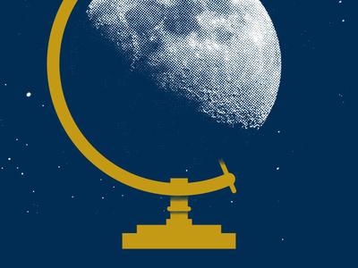 Lunar globe moon print screen print blue gold