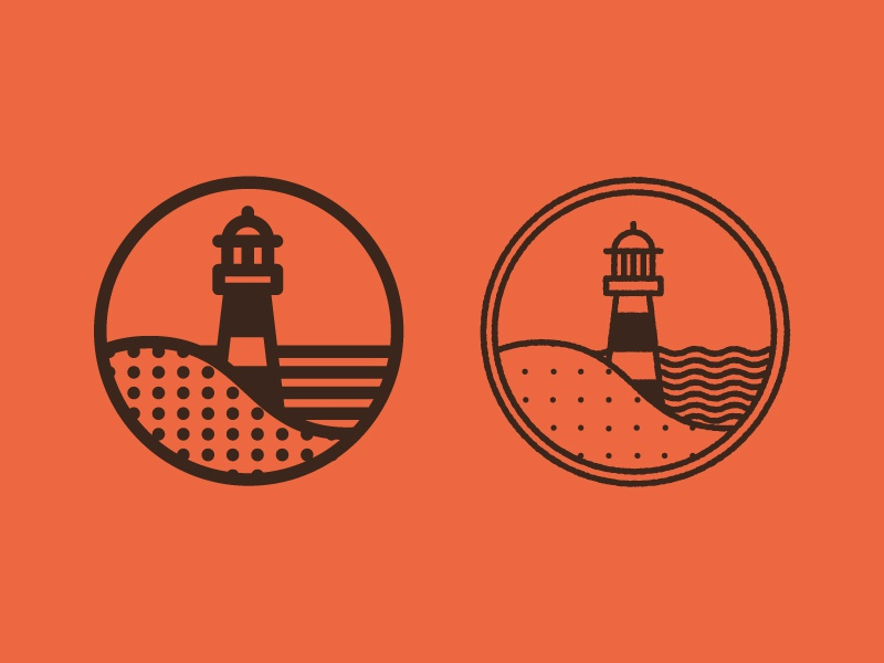 Morris Island lighthouse logo south carolina sc circle lines dot pattern morris island