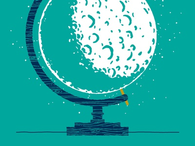 Lunar Globe Progress moon globe sketch rough teal blue gold screen print print poster lunar stars