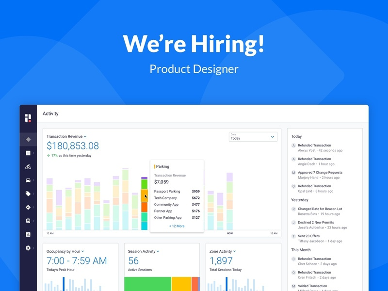 Join the Passport Team! ui design passport graphs charts blue job listing hiring dashboard product design ux ui
