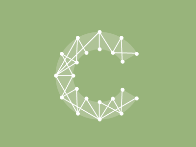 Wired 'C' cevian logo wireframe c green