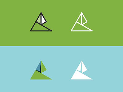 Cevian Triangles Update triangles logo green blue origami folds
