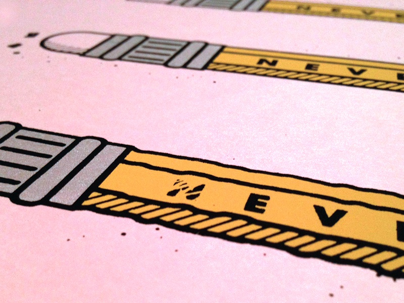 Never. Stop. Learning. print screen print pencil yellow pink silver black poster