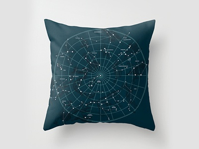 Space Hangout Pillow pillow blue constellations stars