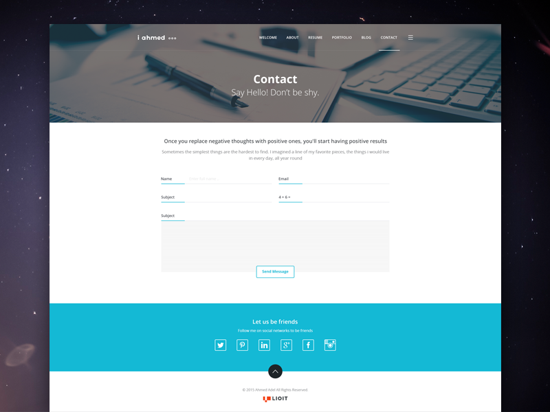 Ahmed Adel - Contact Page marketer ui personal mockup white ux contact design