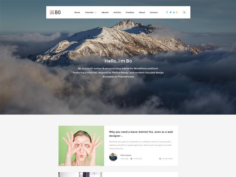 Bo l Creative Blog - Syle 1 wordpress ui design web design ux ui design white