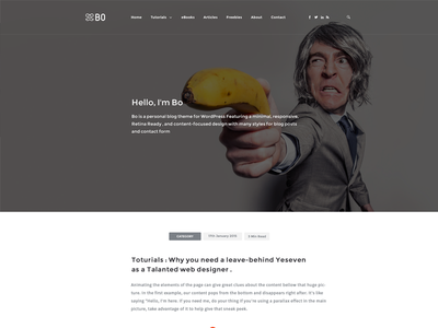 Bo l Creative Blog - Syle 3 widgets psd creative personal awesome web design web design flat white clean blog