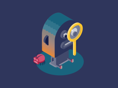 Monocle team - Tester big lips magnifying glass monocle isometric design fun character illustration bug test tester