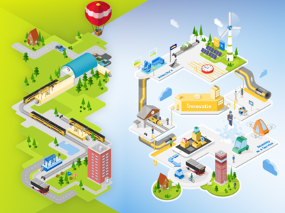 Infographic NS app trip air balloon autocopter jetpack car bicycle bus office station train innovation future isometric art infograhic