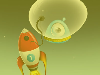 Rocket dudething rrrr bulb eye surprise connection oxygen monster rocket space vector illustrator