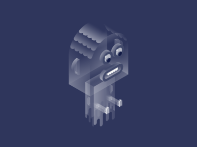 Monocle team - Ghost dude floating monocle isometric design fun transparent character big lips ghost