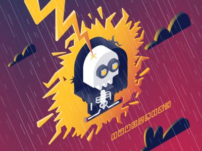 It's (a)live struck rain skeleton monocle illustration vector zapper lightning zero day alive live