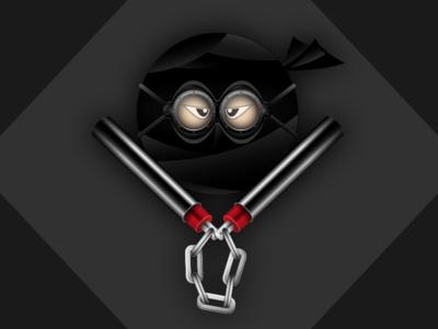 Ninja black goggles illustrator illustration vector nunchucks pinos ninja me avatar
