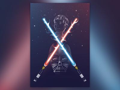 For Ian ian light saber space sky friend vector illustration darthvader