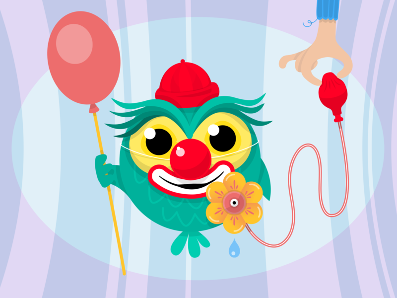 Owl series owl balloon fun nose red sox clown clini vector illustration character