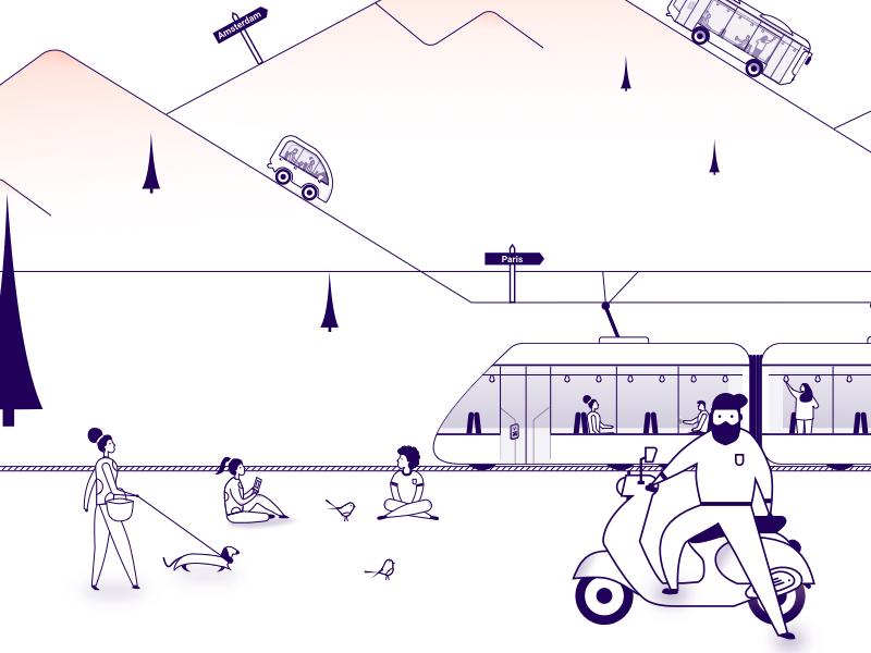 Illustrations mobility as a service scooter bus car service line art vehicles mobility website web branding design illustration