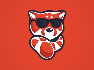 Red Panda Sticker red panda cool sticker sun glasses shades scarf tail illustration cute bad ass